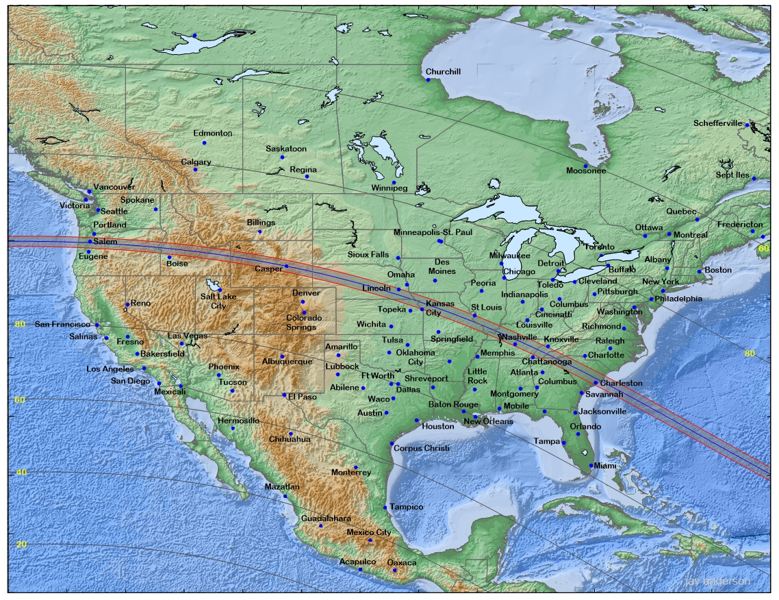 Figure 1: Path of the Moon's shadow across North America.
