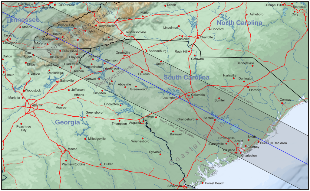 Topographic map of Georgia and the Carolinas with the central track of the eclipse.