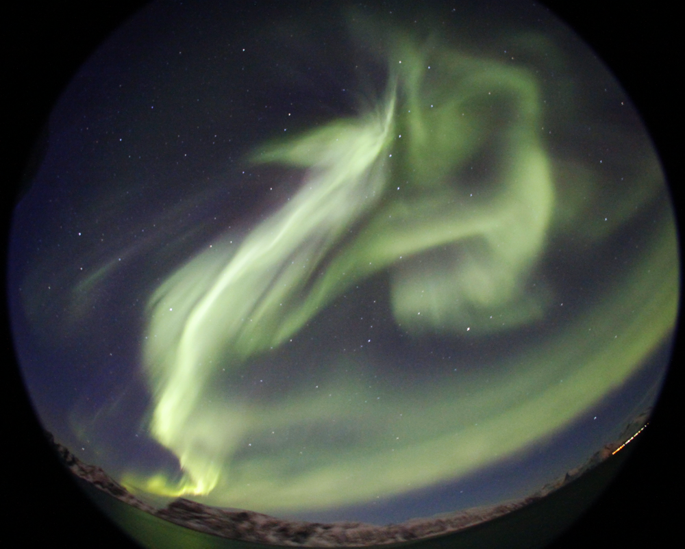 spectacular image of a green aurora from Norway