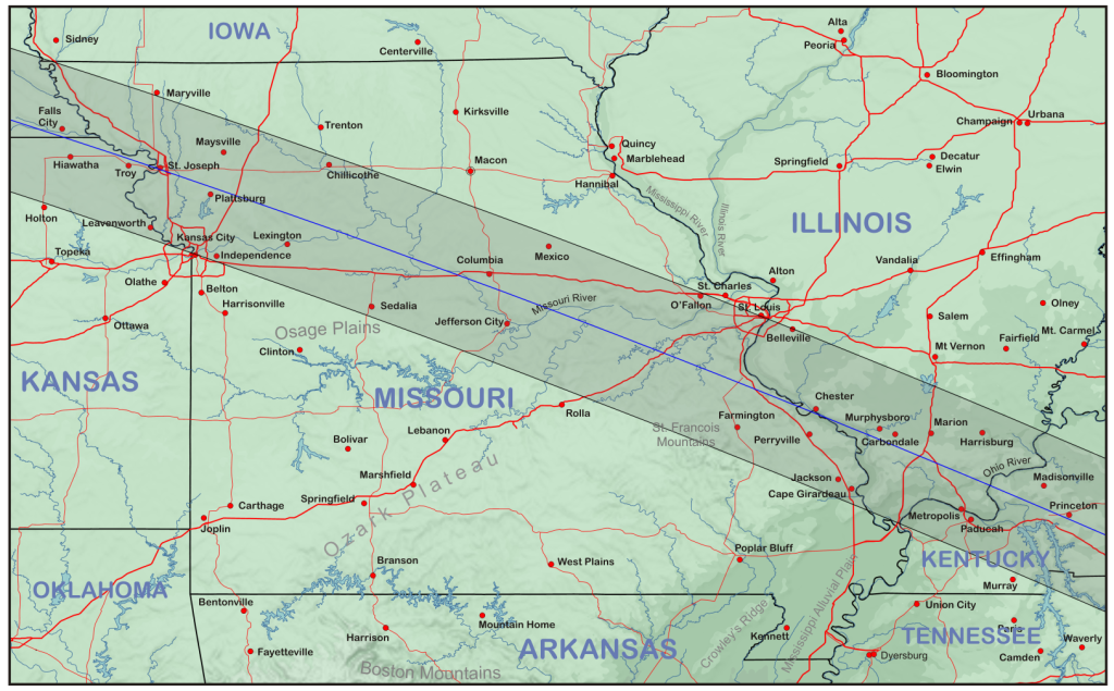 Topographic map of Missouri and Illinois along the track of the eclipse.