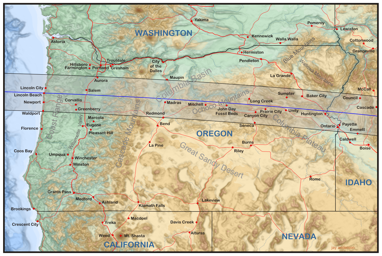 map of the eclipse track across oregon