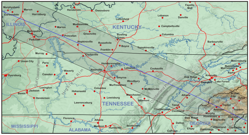 Topographic map of Tennessee and Kentucky along the path of the eclipse.