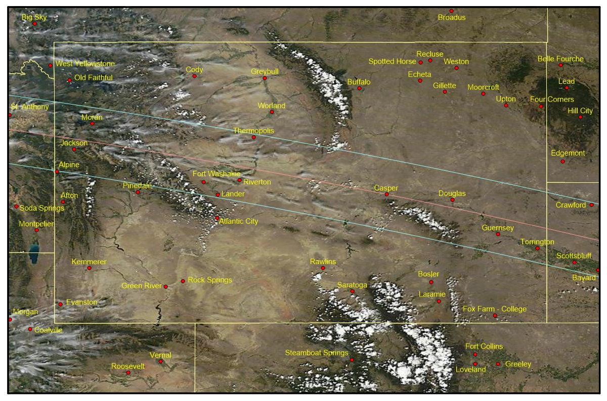 An Aqua satellite image of Wyoming on August 21, 2012. Note the formation of cloud on the dark forest-covered mountains. The wispy tails of semi-transparent cloud are cirrus tags that have formed on upstream peaks and then drifted downwind. Image: SSEC.