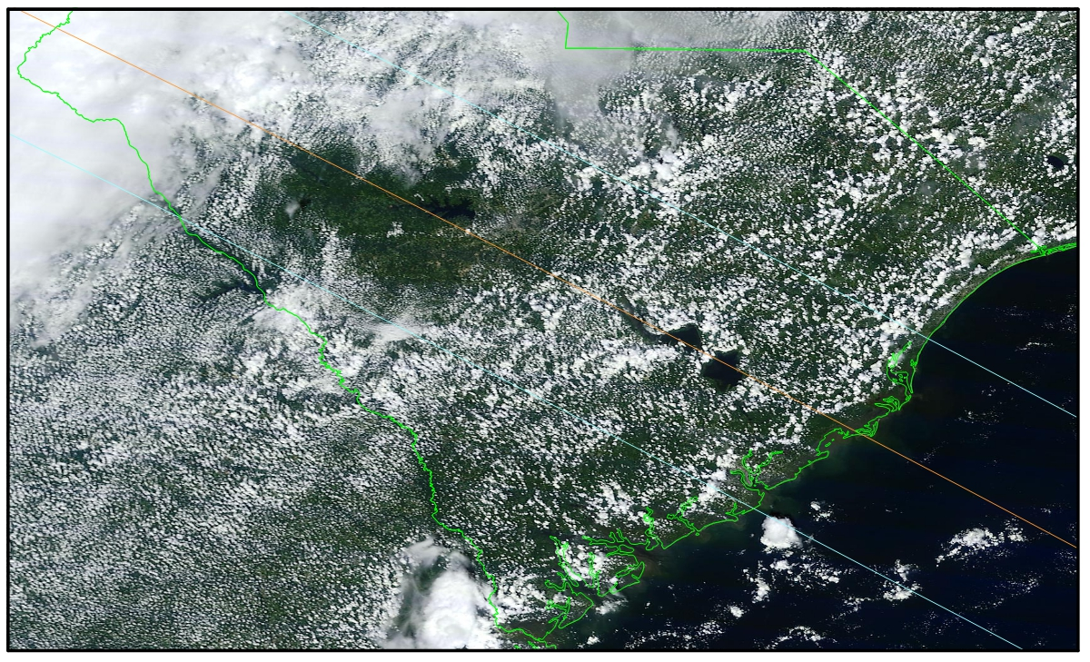 Figure 5: Cloud cover over South Carolina on August 21, 2013. Note tthe effects of a sea-breeze circulation that has pushed the cloud back from the coast. Lakes Moultrie and mdd are free of cloud due to the cooler water in the lakes. At upper left, heavy cloud from an approaching weather system is held at bay temporarily until it can surmount the Blue Ridge Mountains.