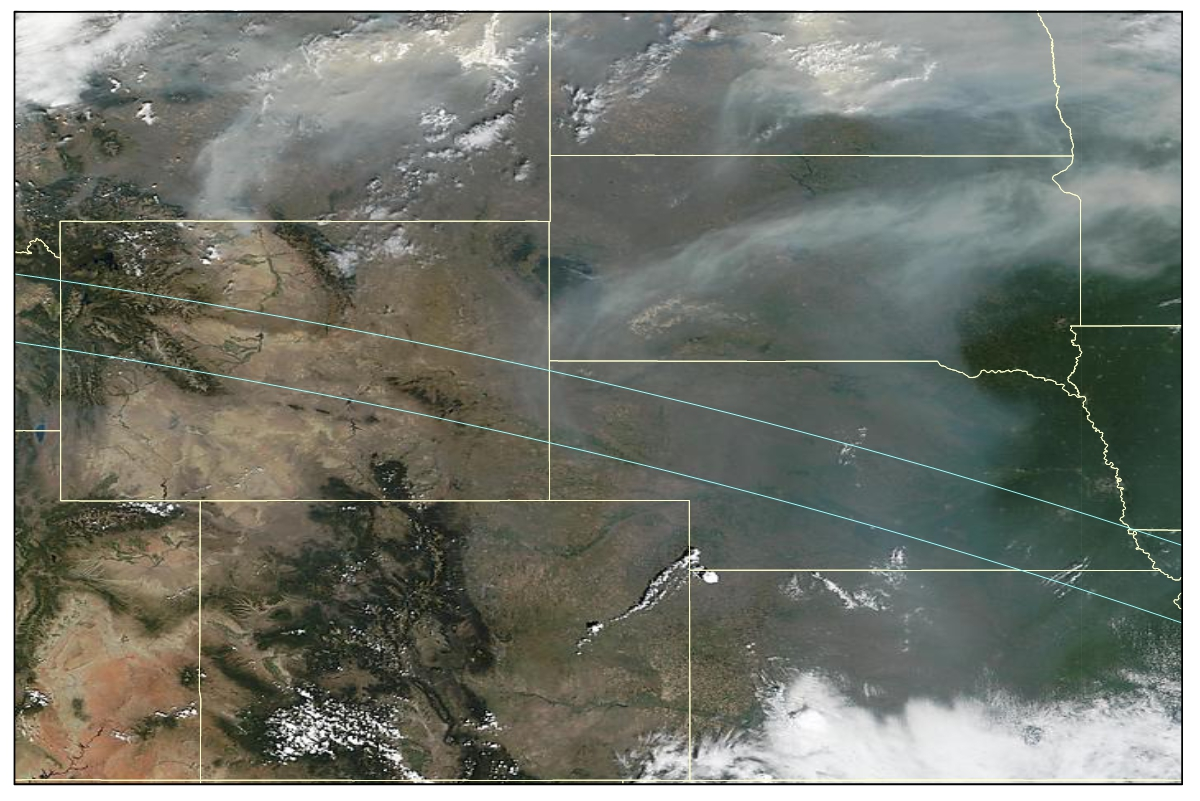 Smoke, from Canadian forest fires, covers most of Nebraska and a small part of eastern Wyoming in this MODIS image from August 21, 2015. Image: SSEC.