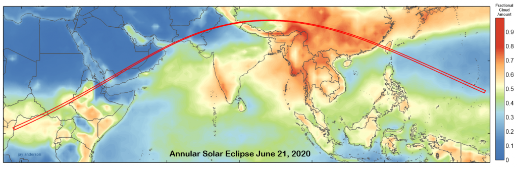 June 21, 2020 annular solar eclipse with average June cloud cover. Data: NASA.