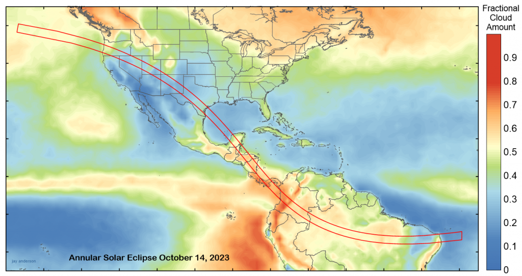 October 14, 2023 annular solar eclipse with average October cloud cover. Data: NASA.