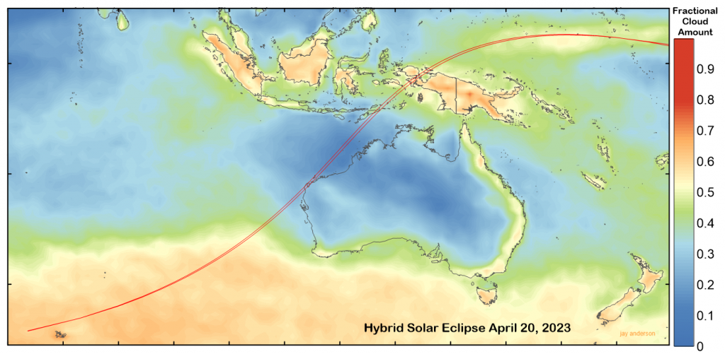 April 20, 2023 hybrid solar eclipse with average April cloud cover. Data: NASA.
