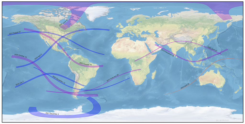 Tracks of central solar eclipses from 2017 to 2024. Total eclipses are in blue, annular eclipses are in purple, and the single hybrid eclipse is in orange. Background map: NASA. Eclipse tracks Fred Espenak, Xavier Jubier.
