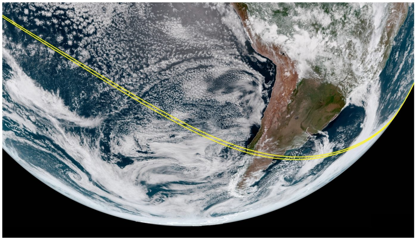 Track of the lunar shadow across the Southern Hemisphere.