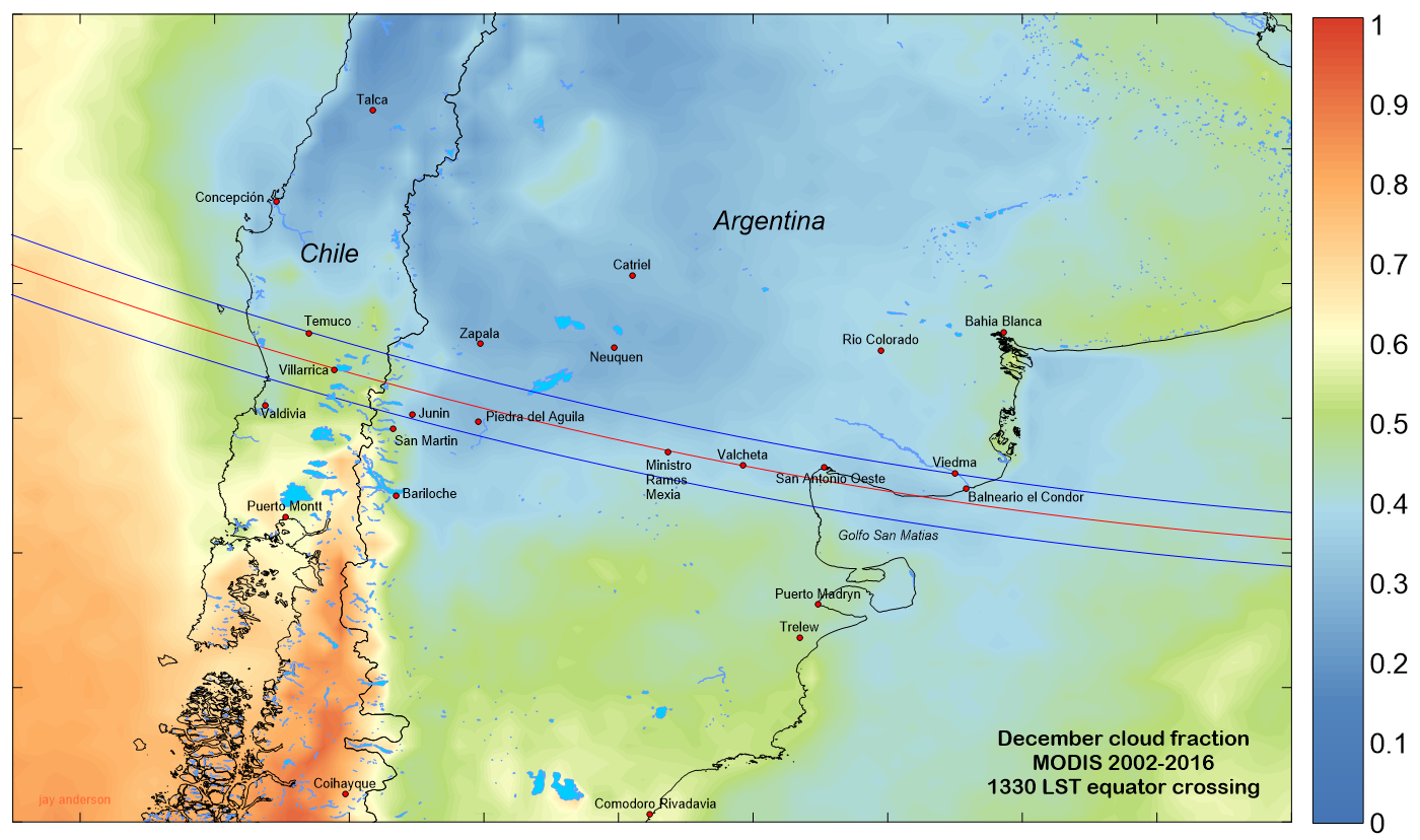 Map of cloud cover over Chile and Argentina