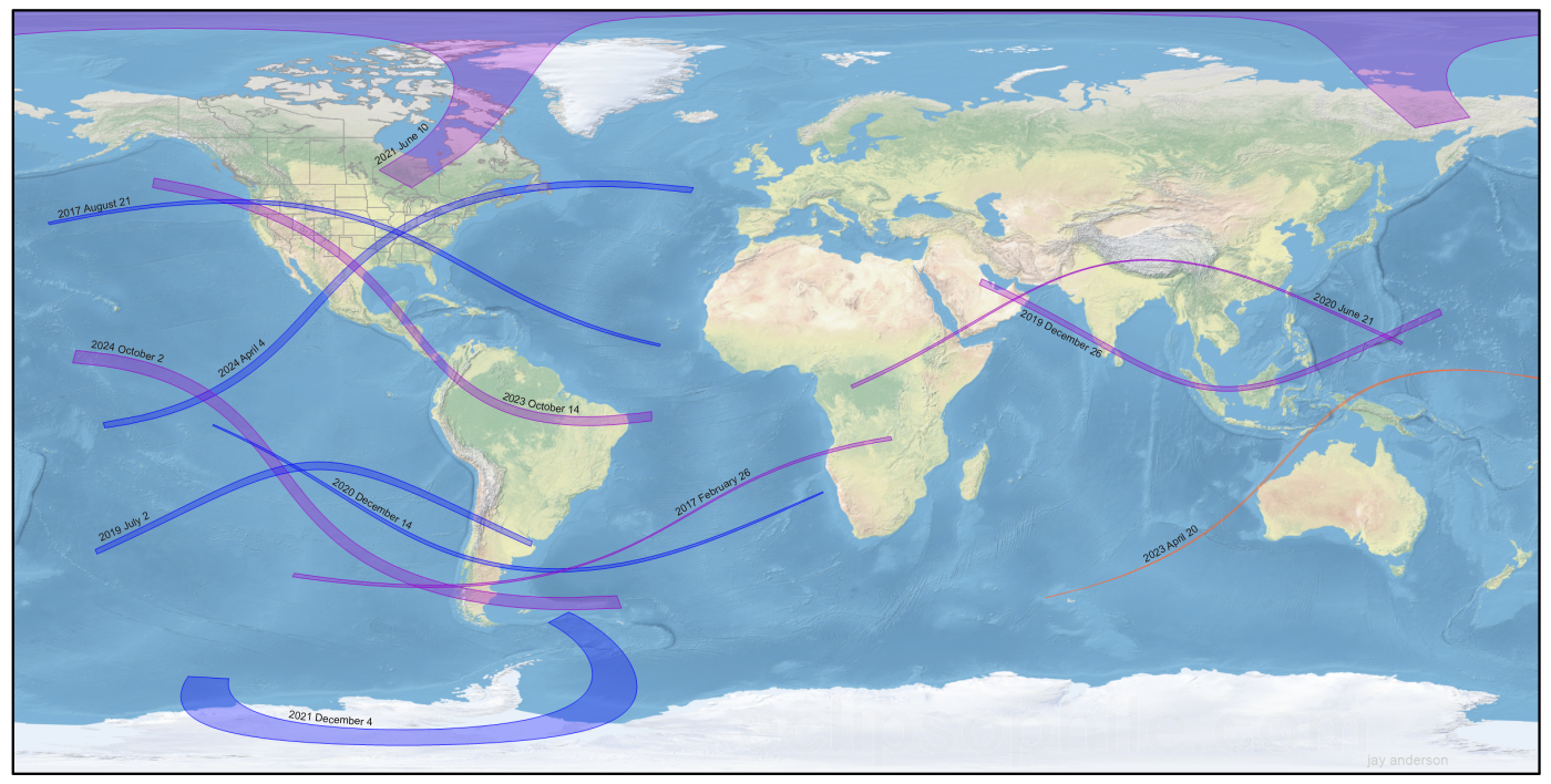 Future eclipses 2019 2024 eclipsophile total eclipses are in blue annular eclipses are in purple and the single hybrid eclipse is in orange background map nasa eclipse tracks fred espenak gumiabroncs Choice Image
