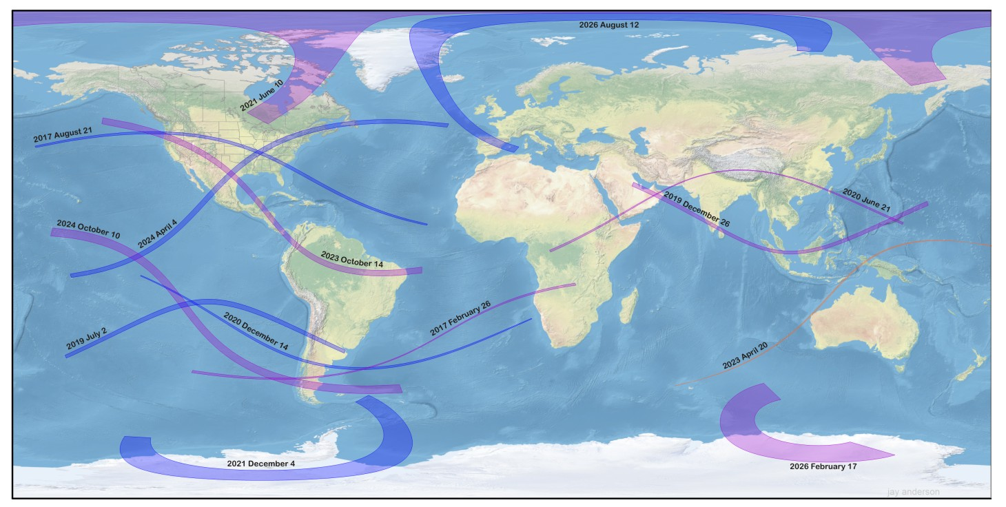 Solar Eclipse Map Nasa Future Eclipses 2023 2026 | Eclipsophile